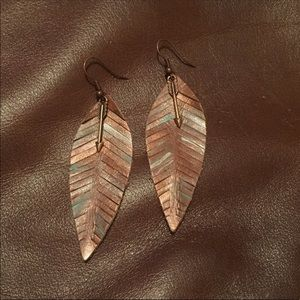 ONE OF A KIND HANDMADE LEATHER FEATHER EARRINGS
